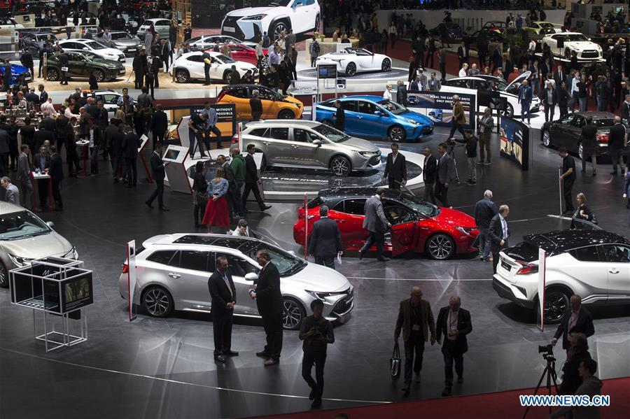 Photo taken on March 5, 2019 shows a general view of the 89th Geneva International Motor Show in Geneva, Switzerland. Featuring about 220 world exhibitors, the 89th Geneva International Motor Show will be opened to the public from March 7 to 17. (Xinhua/Xu Jinquan)