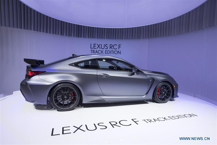 A Lexus RC F Track Edition is seen on the first press day of the 89th Geneva International Motor Show in Geneva, Switzerland, on March 5, 2019. Featuring about 220 world exhibitors, the 89th Geneva International Motor Show will be opened to the public from March 7 to 17. (Xinhua/Xu Jinquan)