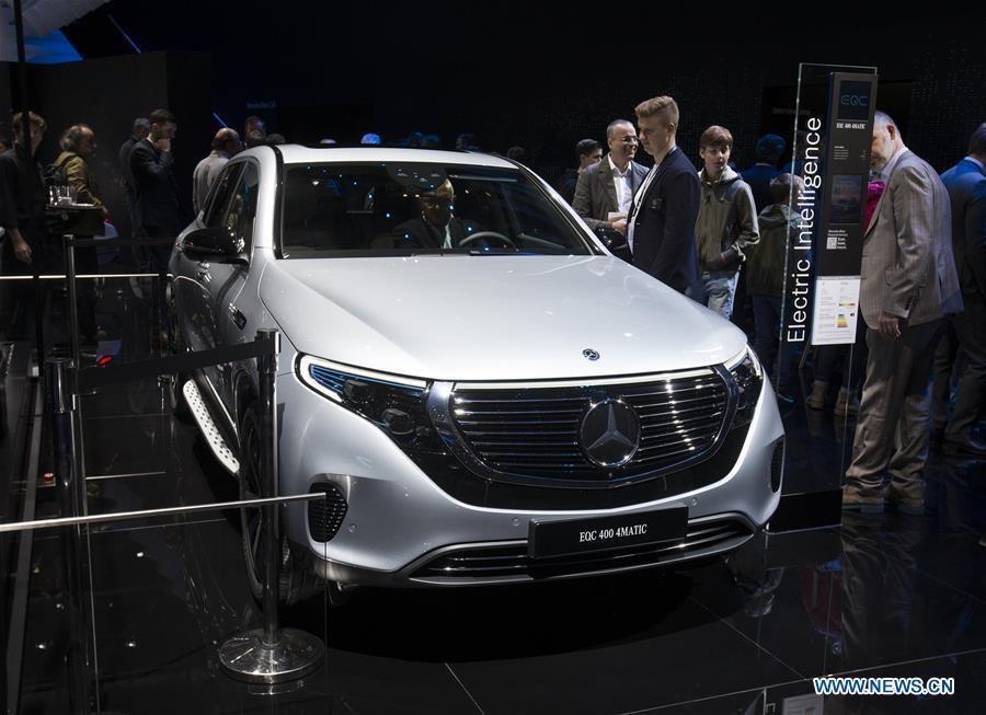 Photo taken on March 6, 2019 shows the Mercedes-Benz EQC 400 4MATIC at the 89th Geneva International Motor Show in Geneva, Switzerland. Electric cars and hybrid cars are highlights at this year\'s Geneva International Motor Show, which will open to the public from March 7 to 17. (Xinhua/Xu Jinquan)