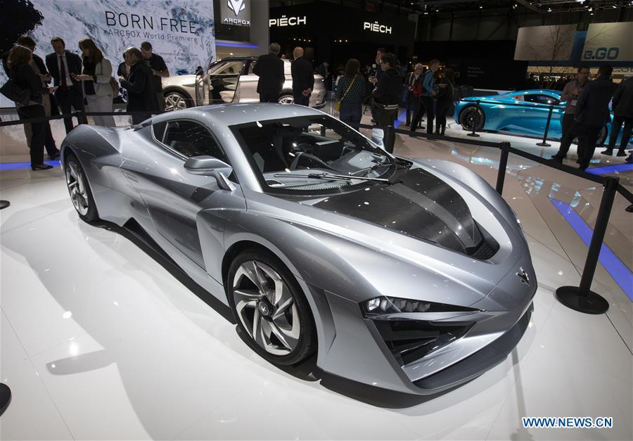 Photo taken on March 6, 2019 shows the Arcfox-GT electric vehicle at the 89th Geneva International Motor Show in Geneva, Switzerland. Electric cars and hybrid cars are highlights at this year\'s Geneva International Motor Show, which will open to the public from March 7 to 17. (Xinhua/Xu Jinquan)