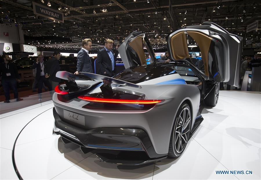 Photo taken on March 6, 2019 shows the Pininfarina Battista Electric Hypercar at the 89th Geneva International Motor Show in Geneva, Switzerland. Electric cars and hybrid cars are highlights at this year\'s Geneva International Motor Show, which will open to the public from March 7 to 17. (Xinhua/Xu Jinquan)