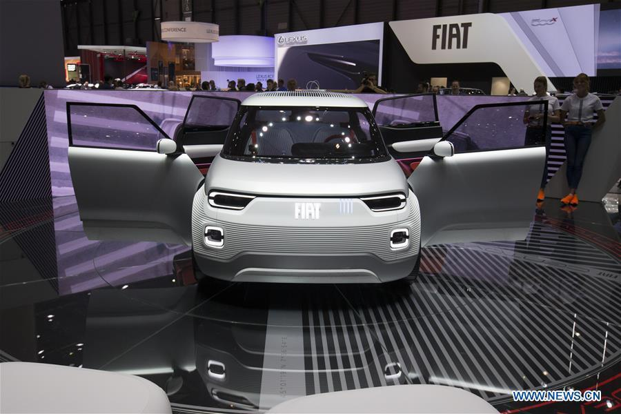 Photo taken on March 6, 2019 shows the Fiat Centoventi electric concept at the 89th Geneva International Motor Show in Geneva, Switzerland. Electric cars and hybrid cars are highlights at this year\'s Geneva International Motor Show, which will open to the public from March 7 to 17. (Xinhua/Xu Jinquan)