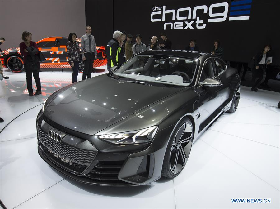 Photo taken on March 6, 2019 shows the Audi e-tron GT concept car at the 89th Geneva International Motor Show in Geneva, Switzerland. Electric cars and hybrid cars are highlights at this year\'s Geneva International Motor Show, which will open to the public from March 7 to 17. (Xinhua/Xu Jinquan)