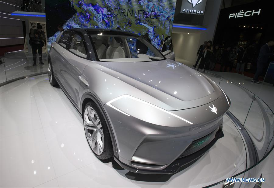 Photo taken on March 6, 2019 shows the Arcfox ECF Concept at the 89th Geneva International Motor Show in Geneva, Switzerland. Electric cars and hybrid cars are highlights at this year\'s Geneva International Motor Show, which will open to the public from March 7 to 17. (Xinhua/Xu Jinquan)