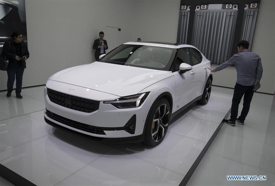 Photo taken on March 6, 2019 shows the all-electric Polestar 2 at the 89th Geneva International Motor Show in Geneva, Switzerland. Electric cars and hybrid cars are highlights at this year\'s Geneva International Motor Show, which will open to the public from March 7 to 17. (Xinhua/Xu Jinquan)