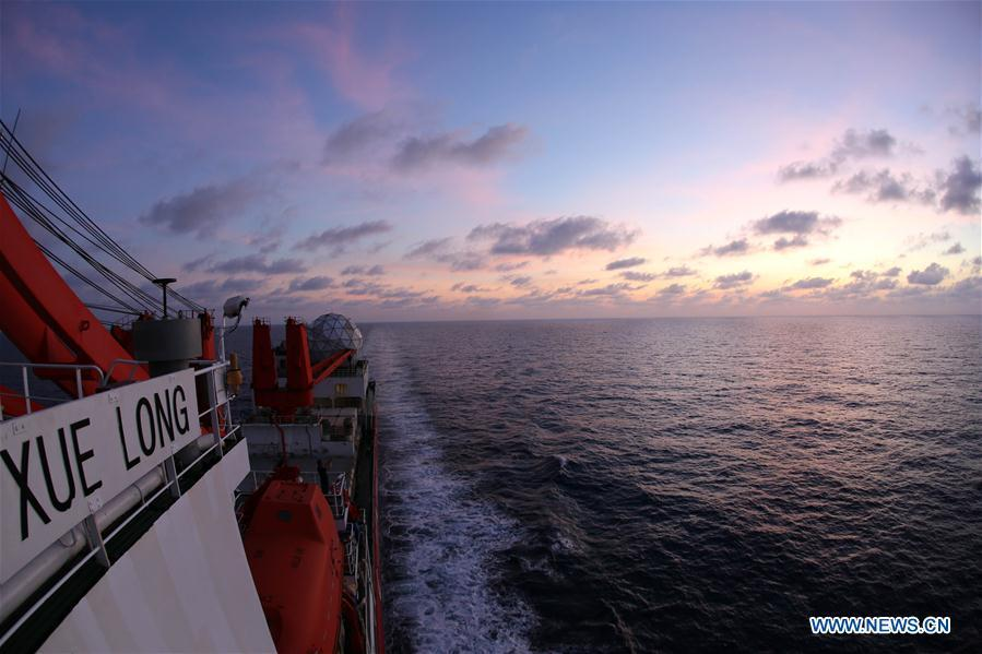 Photo taken on March 5, 2019 shows the evening glow seen from China\'s research icebreaker Xuelong on the South China Sea. China\'s research icebreaker Xuelong, carrying members of China\'s 35th research mission to Antarctica, sailed on the South China Sea on Wednesday and is expected to return to Shanghai six days later. (Xinhua/Liu Shiping)