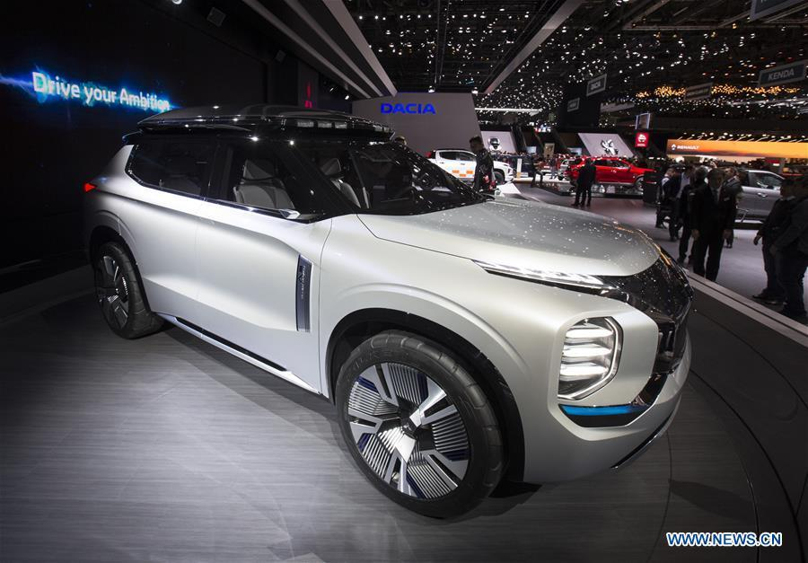 Photo taken on March 6, 2019 shows the Mitsubishi Engelberg Tourer PHEV concept at the 89th Geneva International Motor Show in Geneva, Switzerland. Electric cars and hybrid cars are highlights at this year\'s Geneva International Motor Show, which will open to the public from March 7 to 17. (Xinhua/Xu Jinquan)