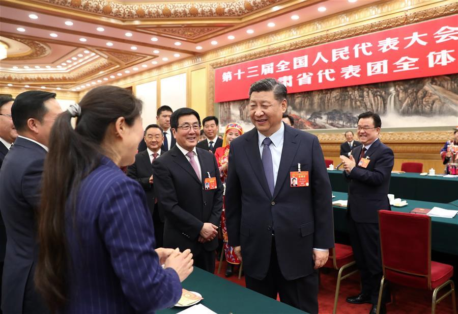 Chinese President Xi Jinping, also general secretary of the Communist Party of China (CPC) Central Committee and chairman of the Central Military Commission, joins deliberation with deputies from Gansu Province at the second session of the 13th National People\'s Congress in Beijing, capital of China, March 7, 2019. (Xinhua/Wang Ye)
