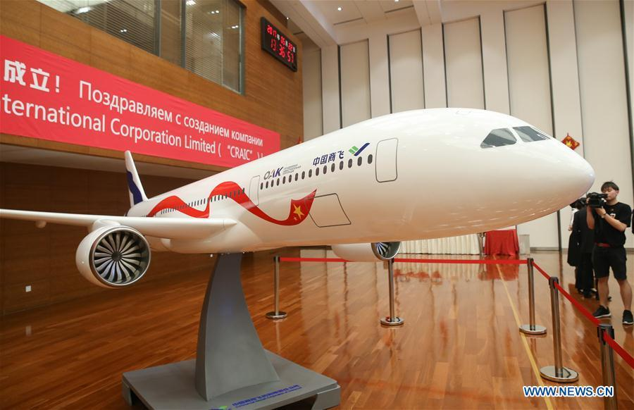 A model of a wide-body passenger jet is seen at the inauguration ceremony of the Shanghai-based China-Russia Commercial Aircraft International Co., Ltd (CRAIC) in Shanghai, east China, May 22, 2017. (Xinhua/Ding Ting)