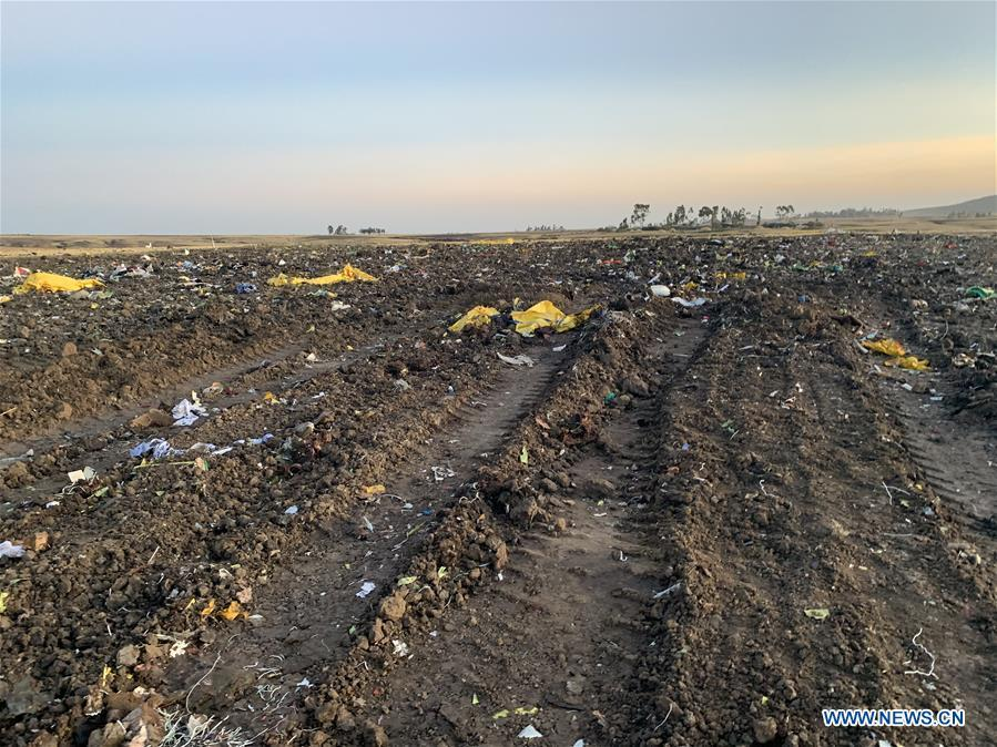 Life jackets from an Ethiopian Airlines\' aircraft are seen at the crash site, some 50 km east of Addis Ababa, capital of Ethiopia, on March 10, 2019. All 157 people aboard Ethiopian Airlines flight were confirmed dead as Africa\'s fastest growing airline witnessed the worst-ever incident in its history. The incident on Sunday, which involved a Boeing 737-800 MAX, occurred a few minutes after the aircraft took off from Addis Ababa Bole International Airport to Nairobi, Kenya. It crashed around Bishoftu town, the airline said. (Xinhua/Wang Shoubao)