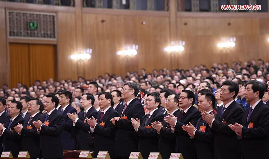 The third plenary meeting of the second session of the 13th National People\'s Congress (NPC) is held at the Great Hall of the People in Beijing, capital of China, March 12, 2019. (Xinhua/Yan Yan)