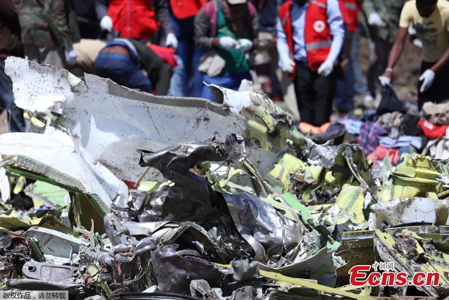 Wreckage is seen at the scene of the Ethiopian Airlines Flight ET 302 plane crash, near the town of Bishoftu, southeast of Addis Ababa, Ethiopia March 11, 2019. Two flight data recorders from Ethiopian Airlines Flight ET302 were found Monday. (Photo/Agencies)