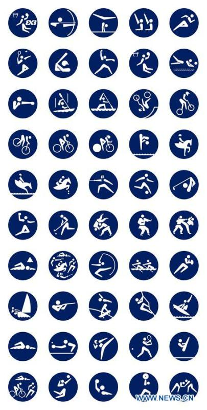 The image of the sport pictograms (frame type) for the Tokyo 2020 Olympic Games is released by the Tokyo 2020 Organizing Committee in Tokyo, Japan, on March 12, 2019. (Xinhua)