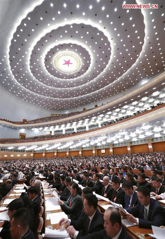 The third plenary meeting of the second session of the 13th National People\'s Congress (NPC) is held at the Great Hall of the People in Beijing, capital of China, March 12, 2019. (Xinhua/Pang Xinglei)