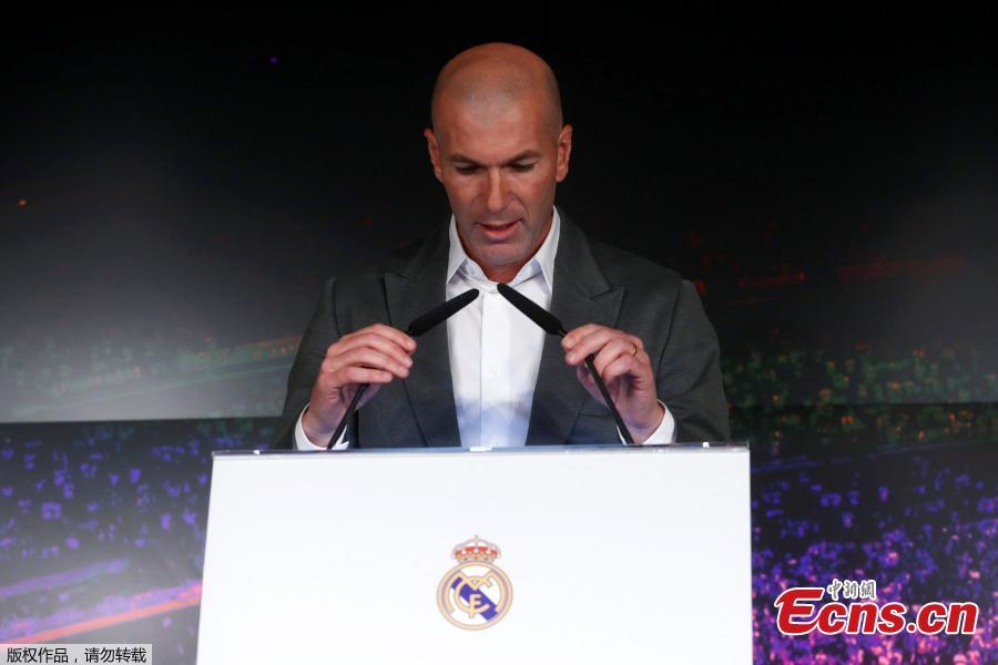 Newly appointed Real Madrid head coach Zinedine Zidane speaks during a press conference in Madrid, March 11, 2019. (Photo/Agencies)  Zinedine Zidane is returning to coach Real Madrid, the club he led to three straight Champions League titles.