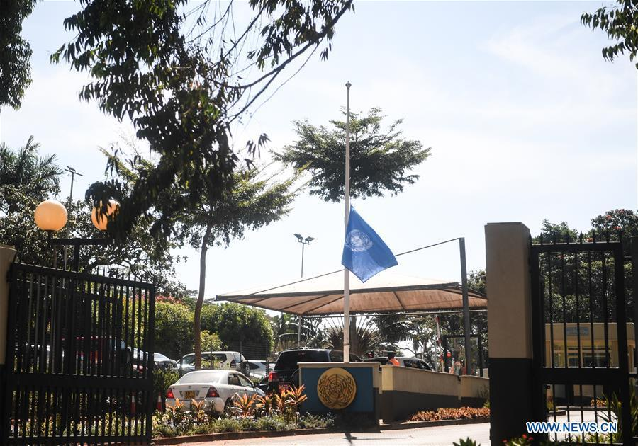 The United Nations flag flies at half mast to mourn for the victims of Ethiopian Airlines crashed plane at the headquarters of the UN Environmental Programme (UNEP) in Nairobi, Kenya, March 11, 2019. (Xinhua/Li Yan)