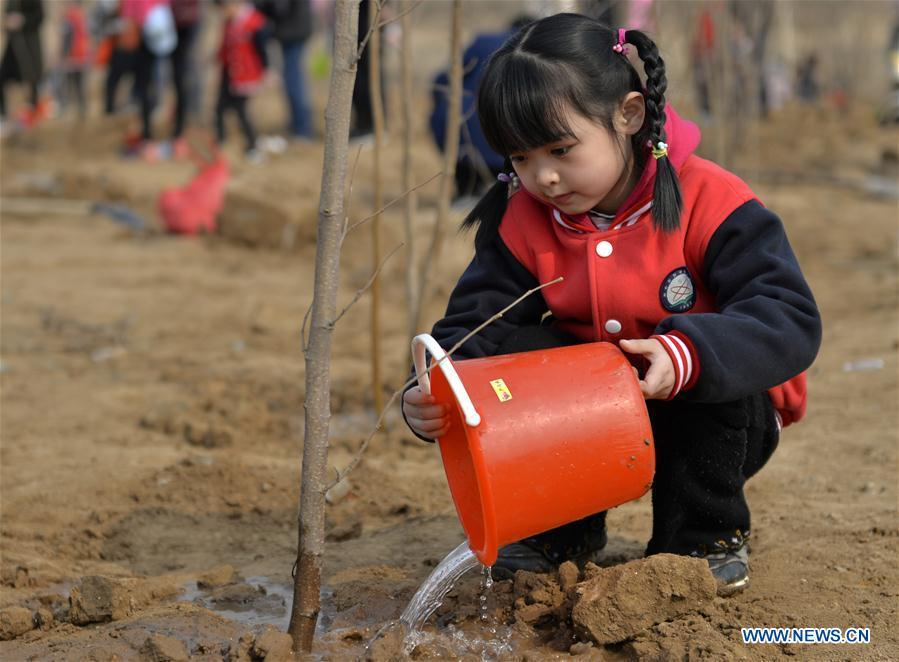 A child waters a tree at Wuzhong Village in Qiaoxi District of Xingtai City, north China\'s Hebei Province, March 11, 2019. Students from Guoshoujing Primary School took part in a tree-planting activity to greet the upcoming Tree Planting Day, also known as Arbor Day, which falls on March 12 each year. (Xinhua/Mu Yu)