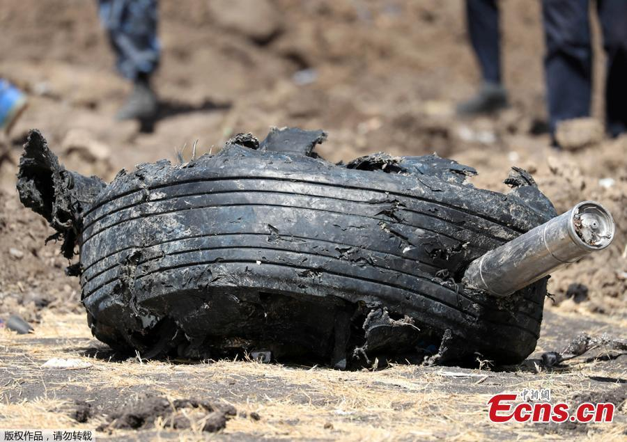 An aeroplane tyre is seen at the scene of the Ethiopian Airlines Flight ET 302 plane crash, near the town of Bishoftu, southeast of Addis Ababa, Ethiopia March 11, 2019. Two flight data recorders from Ethiopian Airlines Flight ET302 were found Monday. (Photo/Agencies)