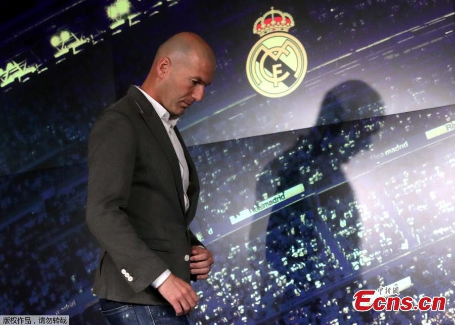 Newly appointed Real Madrid head coach Zinedine Zidane meet the press in Madrid, March 11, 2019. (Photo/Agencies)