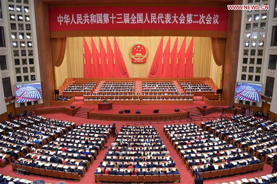 The third plenary meeting of the second session of the 13th National People\'s Congress (NPC) is held at the Great Hall of the People in Beijing, capital of China, March 12, 2019. (Xinhua/Li Tao)