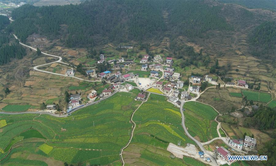 Aerial Photo taken on March 11, 2019 shows the winding concrete road at Majiatun Village of Tianping Township in Yuping County, southwest China\'s Guizhou Province. The concrete road project in Guizhou was launched in August, 2017. Up to now, Guizhou has seen 77,700 kilometers of rural roads built or renovated with nearly 40,000 villages connected by concrete roads. Tens of millions of rural people benefit from the project. (Xinhua/Hu Panxue)