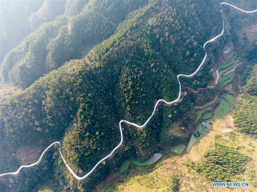 Aerial Photo taken on March 12, 2019 shows the winding concrete road from Sebian Village to Gaobang Village in Langdong Township, Rongjiang County, southwest China\'s Guizhou Province. The concrete road project in Guizhou was launched in August, 2017. Up to now, Guizhou has seen 77,700 kilometers of rural roads built or renovated with nearly 40,000 villages connected by concrete roads. Tens of millions of rural people benefit from the project.(Xinhua/Wang Bingzhen)