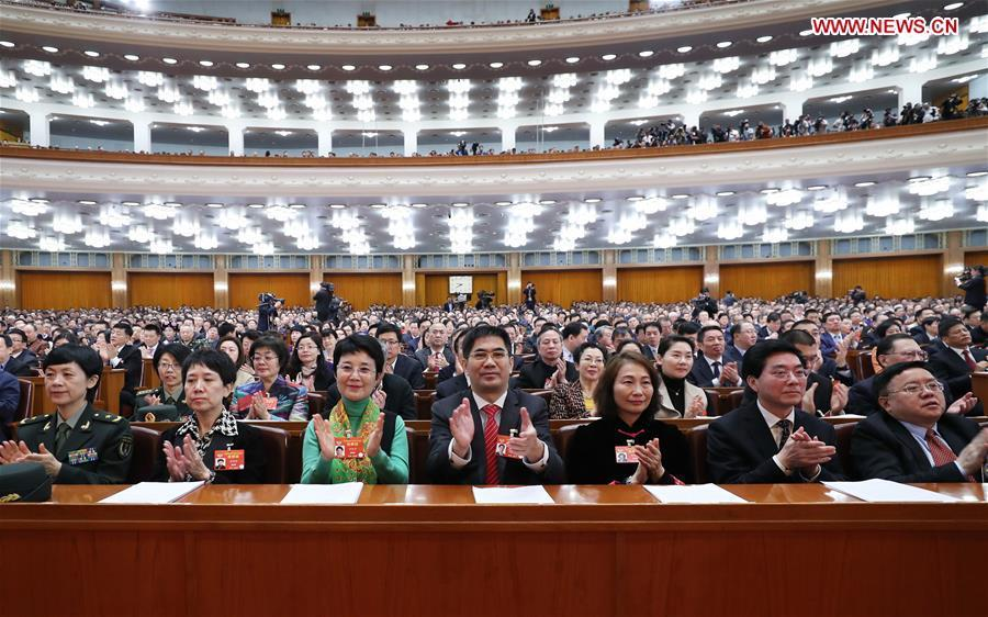 The closing meeting of the second session of the 13th National Committee of the Chinese People\'s Political Consultative Conference (CPPCC) is held at the Great Hall of the People in Beijing, capital of China, March 13, 2019. (Xinhua/Wang Ye)