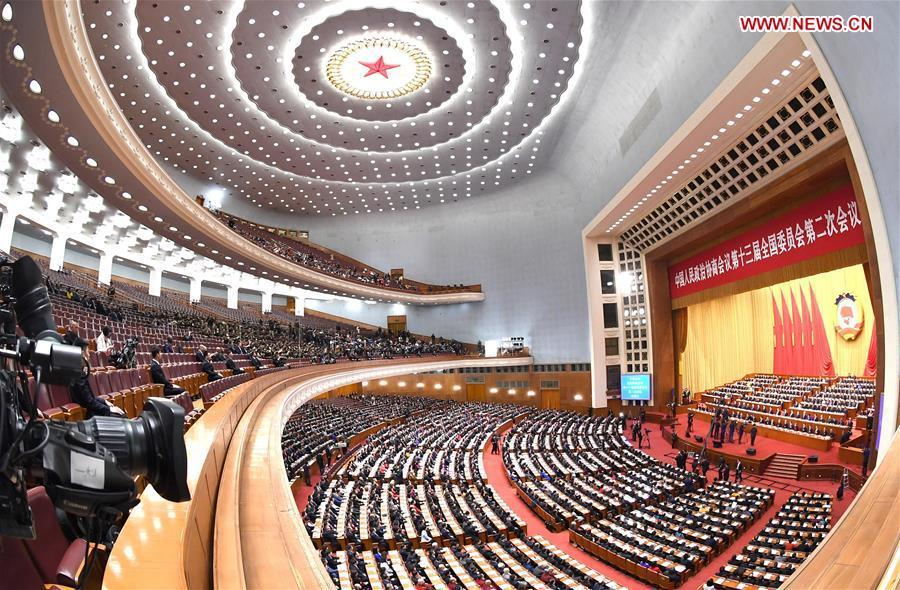 The closing meeting of the second session of the 13th National Committee of the Chinese People\'s Political Consultative Conference (CPPCC) is held at the Great Hall of the People in Beijing, capital of China, March 13, 2019. (Xinhua/Rao Aimin)