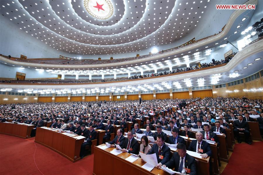 The closing meeting of the second session of the 13th National Committee of the Chinese People\'s Political Consultative Conference (CPPCC) is held at the Great Hall of the People in Beijing, capital of China, March 13, 2019. (Xinhua/Yao Dawei)