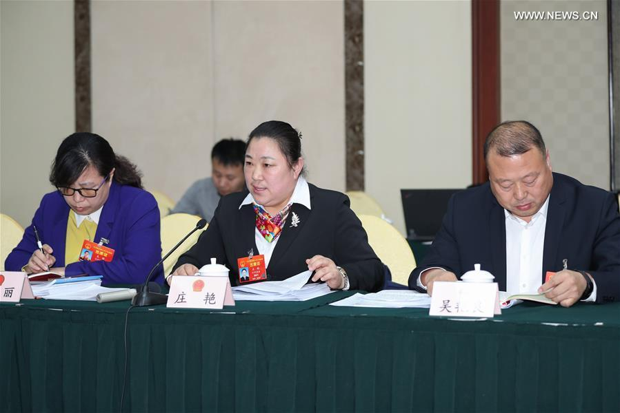 Zhuang Yan (C), a deputy to the 13th National People\'s Congress (NPC), speaks during a panel discussion with other deputies from northeast China\'s Liaoning Province at the second session of the 13th NPC in Beijing, capital of China, on March 7, 2019. (Xinhua/Long Lei)