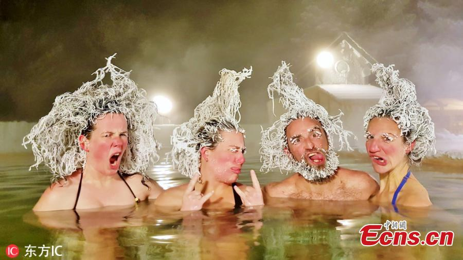 Photo shows the Best Group winner in Hair Freezing Contest 2019. (Photo/IC)