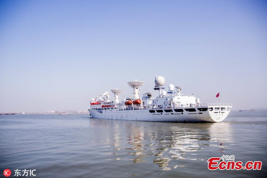 The space-tracking ship Yuanwang-3 is sailing to the Pacific Ocean from a port in east China\'s Jiangsu Province on March 13, 2019 for upcoming monitoring missions. This year, the ship will carry out two maritime space monitoring missions, which will last approximately two months. Yuanwang-3, which entered service in the mid-1990s, is China\'s second-generation space-tracking ship. (Photo/IC)