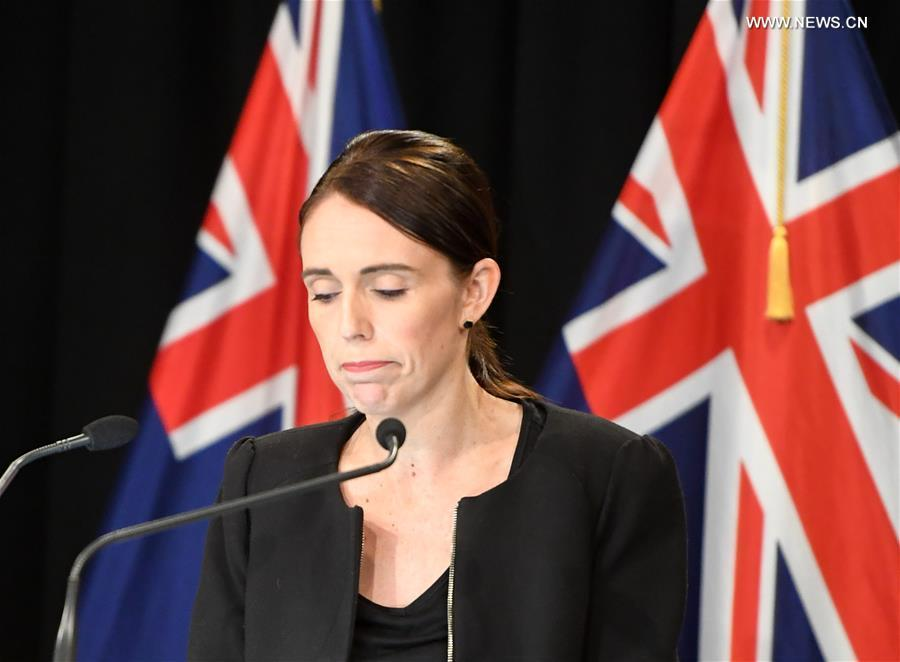 New Zealand Prime Minister Jacinda Ardern reacts during a briefing in Wellington, capital of New Zealand, on March 16, 2019. Jacinda Ardern reiterated to the public on Saturday morning that the country\'s gun law will be changed. Gunmen opened fire in two separate mosques in Christchurch on Friday, killing 49 people and wounding 48 others. (Xinhua/Guo Lei)