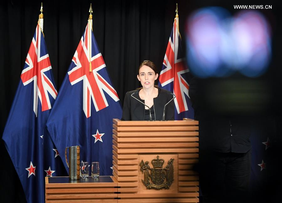 New Zealand Prime Minister Jacinda Ardern addresses a briefing in Wellington, capital of New Zealand, on March 16, 2019. Jacinda Ardern reiterated to the public on Saturday morning that the country\'s gun law will be changed. Gunmen opened fire in two separate mosques in Christchurch on Friday, killing 49 people and wounding 48 others. (Xinhua/Guo Lei)