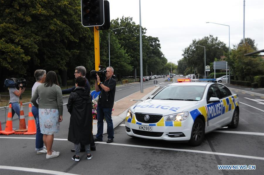 Locals are interviewed near the site of the terrorist attacks in Christchurch, New Zealand, on March 16, 2019. Gunmen opened fire in two separate mosques in Christchurch on Friday, killing 49 people and wounding 48 others. (Xinhua/Lu Huaiqian)