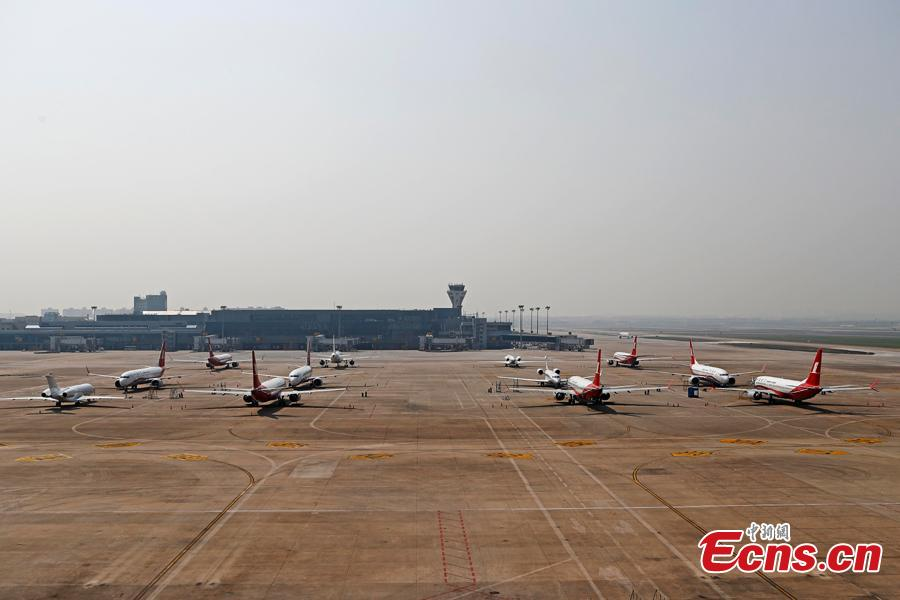 Boeing 737 MAX planes of Shanghai Airlines are grounded at Hongqiao International Airport in Shanghai, March 17, 2019. Boeing Co said on Friday its software upgrade for the grounded 737 MAX jetliner will be rolled out in the coming weeks. (Photo: China News Service/Yin Liqin)