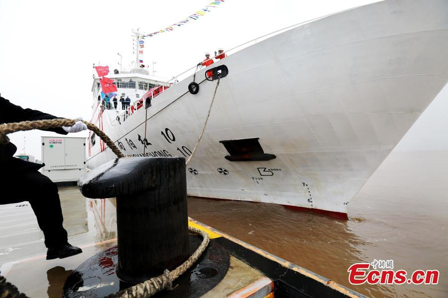 Chinese research ship Xiangyanghong 10 sets sail for an expedition in the Pacific Ocean in Zhoushan, Zhejiang Province, March 18, 2019. The whole journey will take 255 days and involve 22,000-sea miles. The research will promote China\'s understanding of the deep sea, according to the Ministry of Natural Resources. (Photo provided to China News Service)