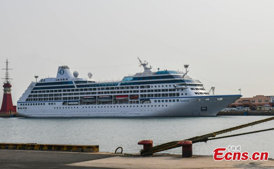 Luxury cruise ship Nautica, sailing under the Marshall Islands flag, is seen entering a port in Dalian City, Northeast China\'s Liaoning Province, March 18, 2019. Nautica is the first international cruise ship to arrive in Dalian this year, an important port in China's plan to develop its cruise economy. (Photo: China News Service/Zhao Guanghui)