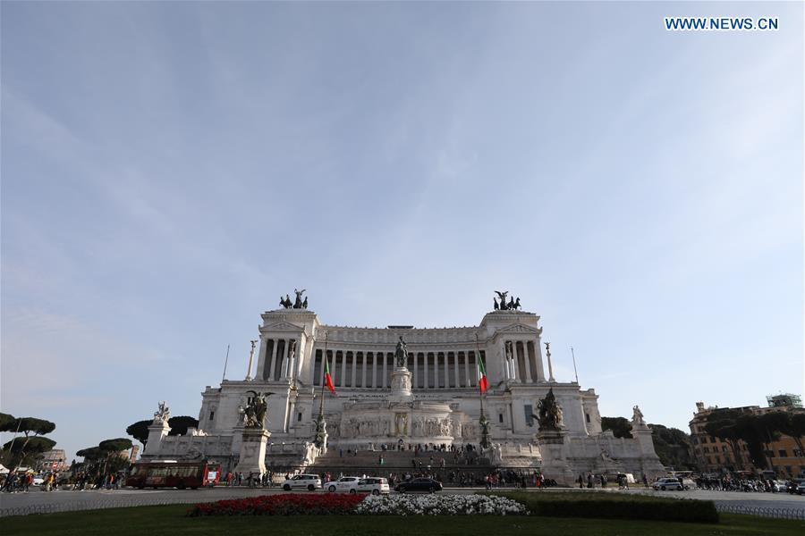 Photo taken on March 6, 2019 shows the Piazza Venezia in Rome, Italy. (Xinhua/Cheng Tingting)