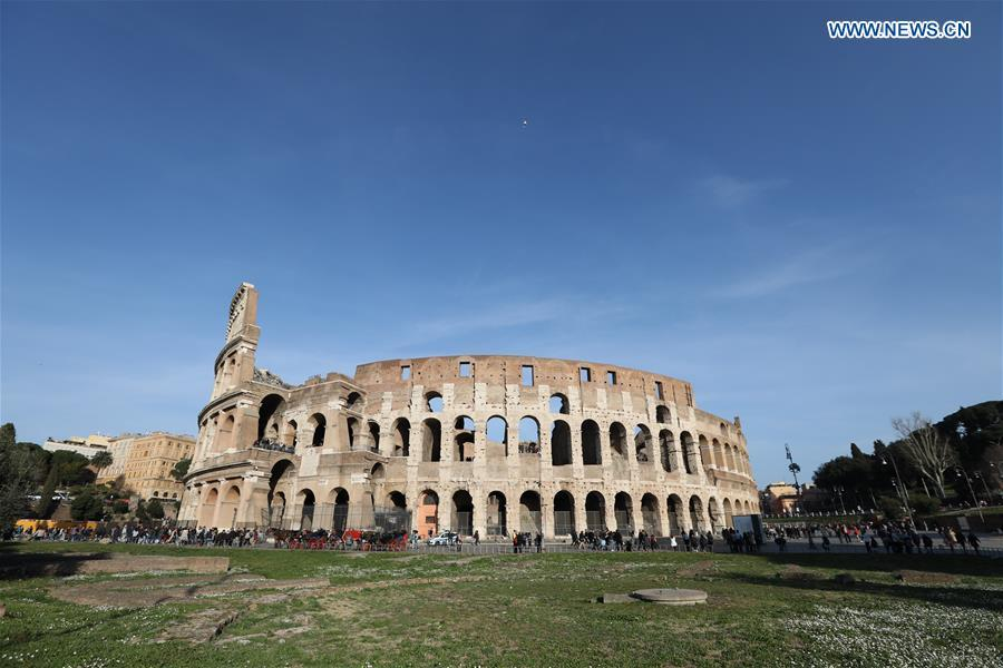 People visit the ancient Roman ruins of the Colosseum in Rome, Italy, March 6, 2019. (Xinhua/Cheng Tingting)