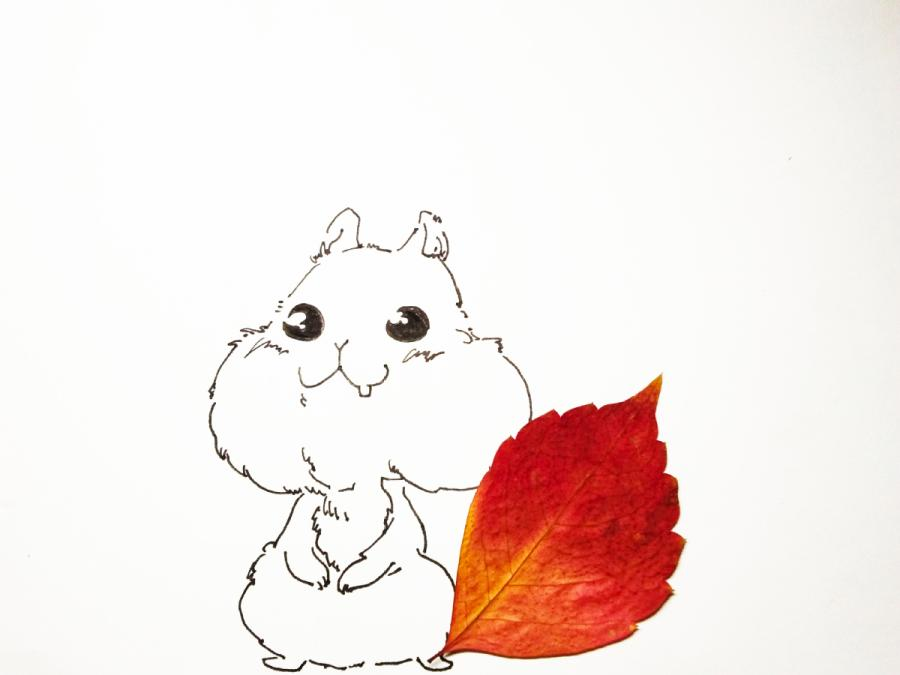 A leaf in maroon color is used as the squirrel tail in the creative painting created by students from Lanzhou Jiaotong University in Northwest China\'s Gansu Province, March 2019.