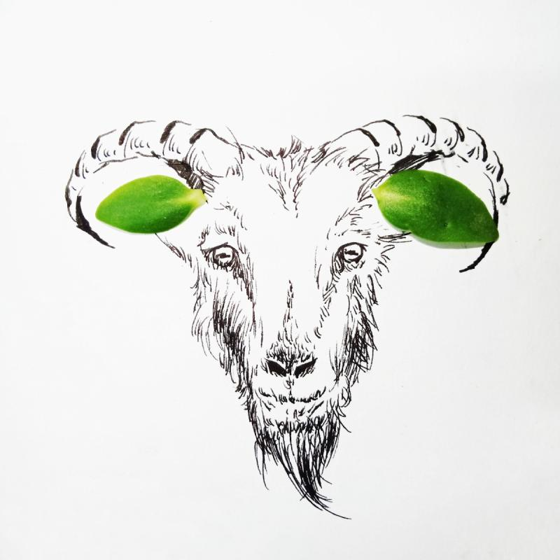 The goat\'s ears are replaced by two olive green leaves in the creative painting created by students from Lanzhou Jiaotong University in Northwest China\'s Gansu Province, March 2019.