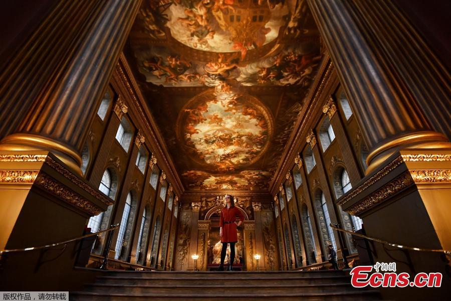 Photo taken on March 20, 2019 shows the Painted Hall at the Old Royal Naval College, Greenwich, one of the most spectacular and important baroque interiors in Europe. It will reopen on March 23 following a major conservation project. (Photo/Agencies)
