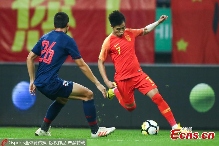 Wei Shihao #7 of China in action during 2019 China Cup International Football Championship between China and Thailand at Guangxi Sports Center on March 21, 2019 in Nanning, China. (Photo/Osports)