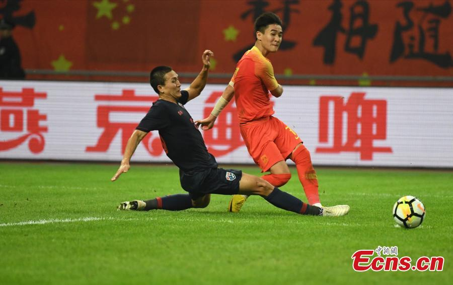competes during 2019 China Cup International Football Championship between China and Thailand at Guangxi Sports Center on March 21, 2019 in Nanning, China. (Photo/China News Service)