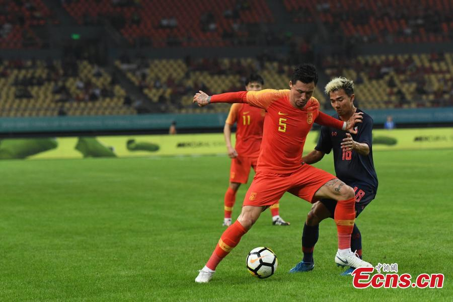 Zhang Linpeng #5 of China in action during 2019 China Cup International Football Championship between China and Thailand at Guangxi Sports Center on March 21, 2019 in Nanning, China.