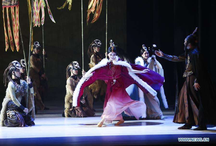 Actors perform during the media preview of Princess Zhaojun at Lincoln Center\'s David H. Koch Theater in New York, the United Sates, March 21, 2019. The dance drama based on the life story of an ancient princess in China made its debut of the four-day New York tour on Thursday. Produced by the renowned China Arts and Entertainment Group Ltd. (CAEG), Princess Zhaojun, which features 50 dancers, brings to life a household story in China of Wang Zhaojun, a palace lady-in-waiting living over 2,000 years ago in Han Dynasty who helped secure peace on the turbulent northern border by marrying the leader of Xiongnu, a powerful nomadic tribe. Serving as a queen of the tribe, Zhaojun helped Han to build a good relationship with Xiongnu and promoted cultural exchanges. (Xinhua/Wang Ying)