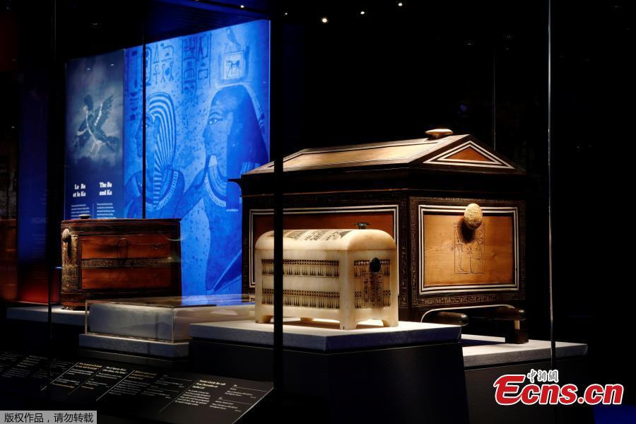A wooden traveling chest of Tutankhamun is pictured during a press visit of the Tutankhamun, Treasures of the Golden Pharaoh exhibition, displaying more than 150 original artefacts, at the Grande Halle de la Villette in Paris, France, March 21, 2019. (Photo/Agencies)