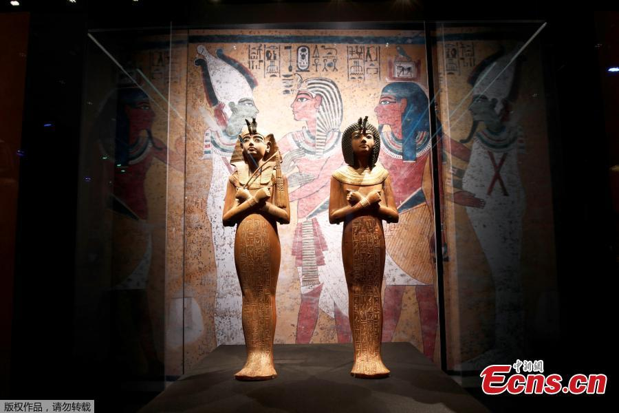 Wooden Shabti statues are pictured during a press visit of the Tutankhamun, Treasures of the Golden Pharaoh exhibition, displaying more than 150 original artefacts, at the Grande Halle de la Villette in Paris, France, March 21, 2019. (Photo/Agencies)