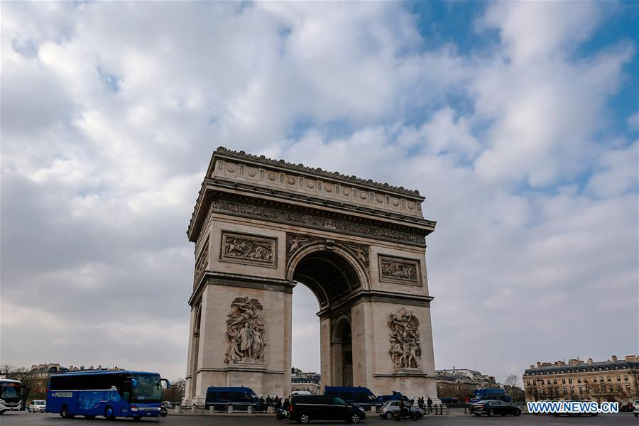 Photo taken on March 23, 2019 shows the Arc de Triomphe in Paris, France. (Xinhua/Zhang Cheng)